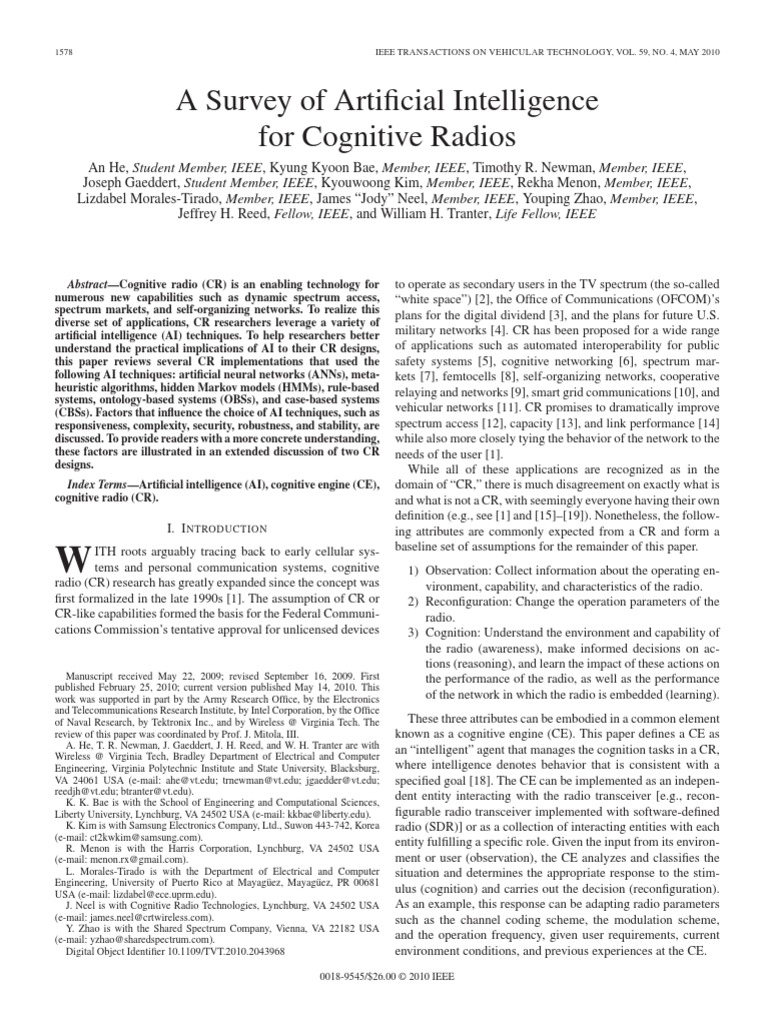 a survey of cognitive radio systems Complex self-organizing cognitive radio focused on the cdma-based underlay cognitive radio systems where (2008) a survey on spectrum management in cognitive.