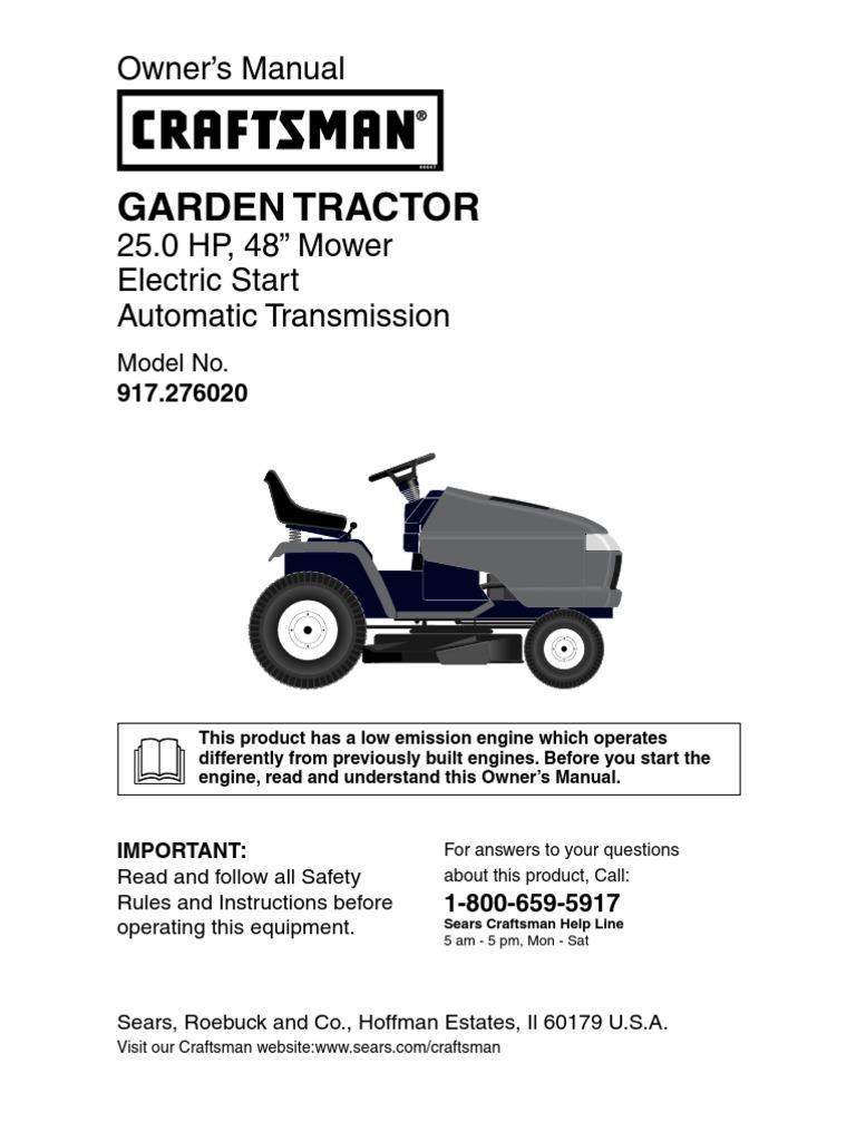 Craftsman Garden Tractor 917276020 Owners Manual 2600 Hp Kohler Engine Schematics Transmission