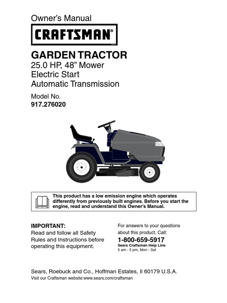 Craftsman Garden Tractor 917.276020 Owners Manual | Tractor | Manual on
