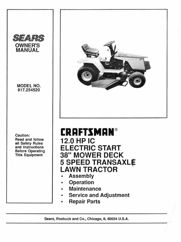 craftsman garden tractor manual 917 254520 tractor lawn mower