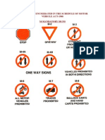 Traffic Signs Enumerated in the Schedule of Motor Vehicle Act