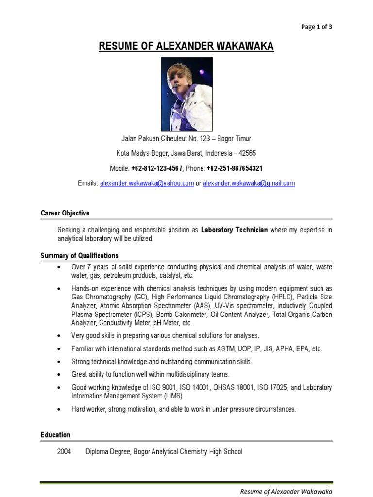 Contoh Resume Lab Technician Laboratories Gas Chromatography