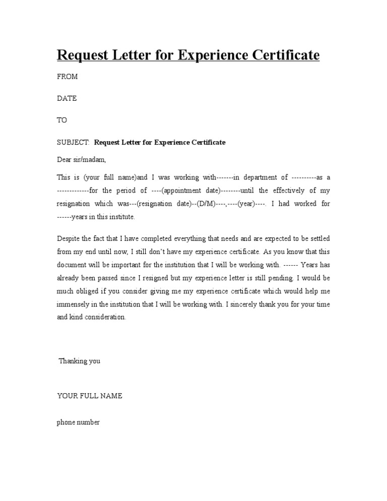 Sample Letter For Requesting Work Experience Certificate