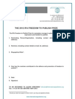 The 2012 Ipa Freedom to Publish Prize