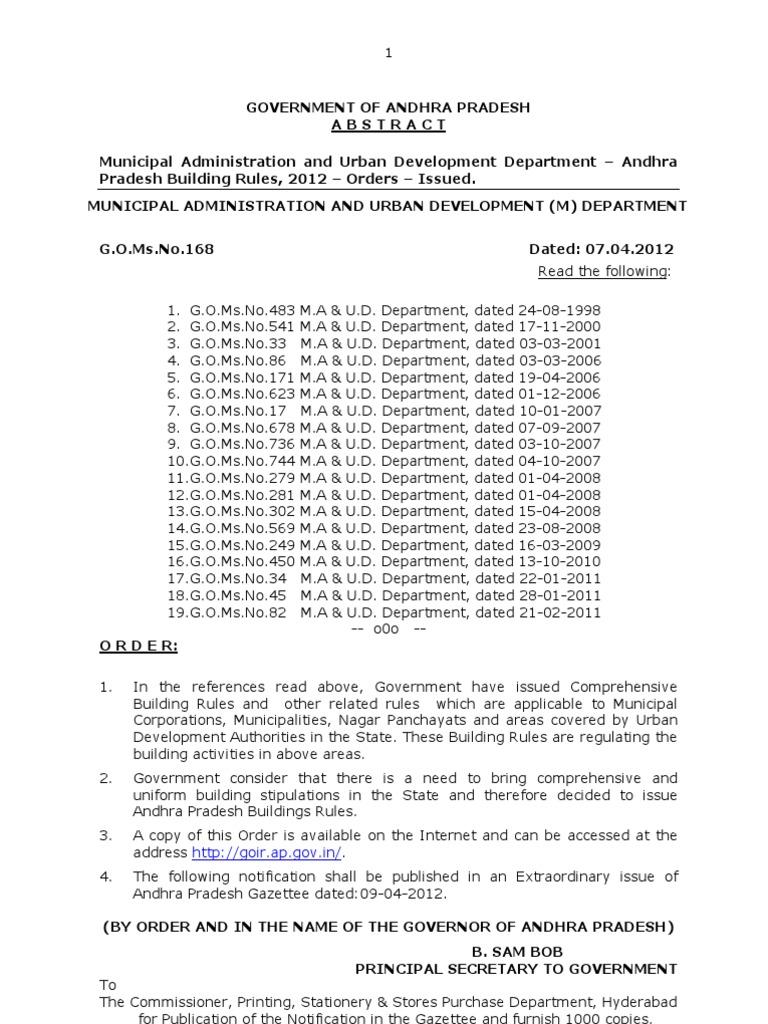Andhra Pradesh Building Rules 2012 Gomsno168 Ma Dated 07042012