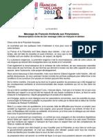 Message de François Hollande aux Polynésiens