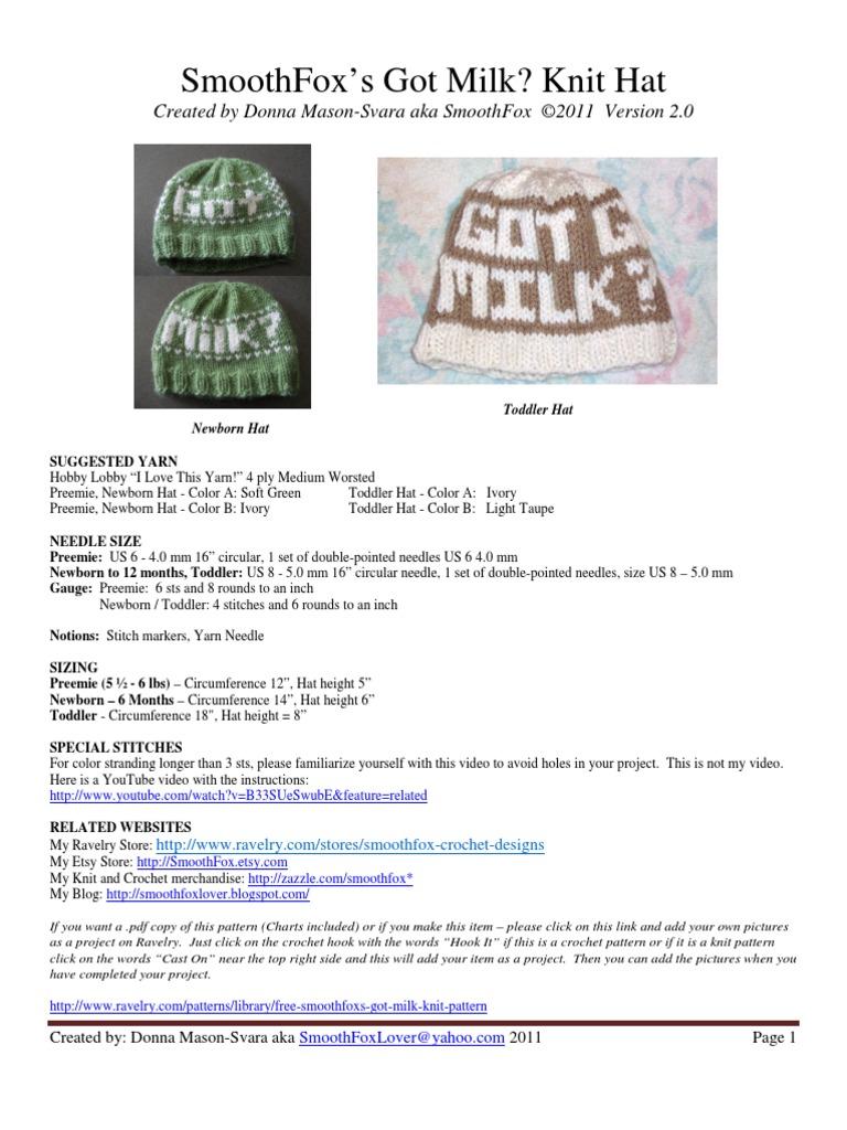 SmoothFox Got Milk Knit Hat | Knitting | Crochet