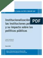BID - Institucionalizacion de Las Instituciones Politicas y Su Impacto Sobre Las Politicas Publicas