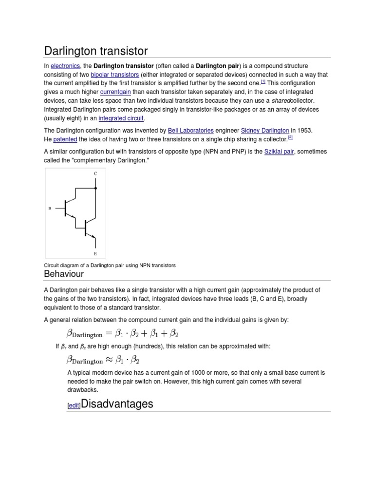 Darlington Transistor Semiconductor Devices Basic Electricity And Electronics Pairs