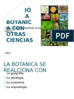 RELACIÓN DE LA BOTÁNICA CON OTRAS CIENCIAS