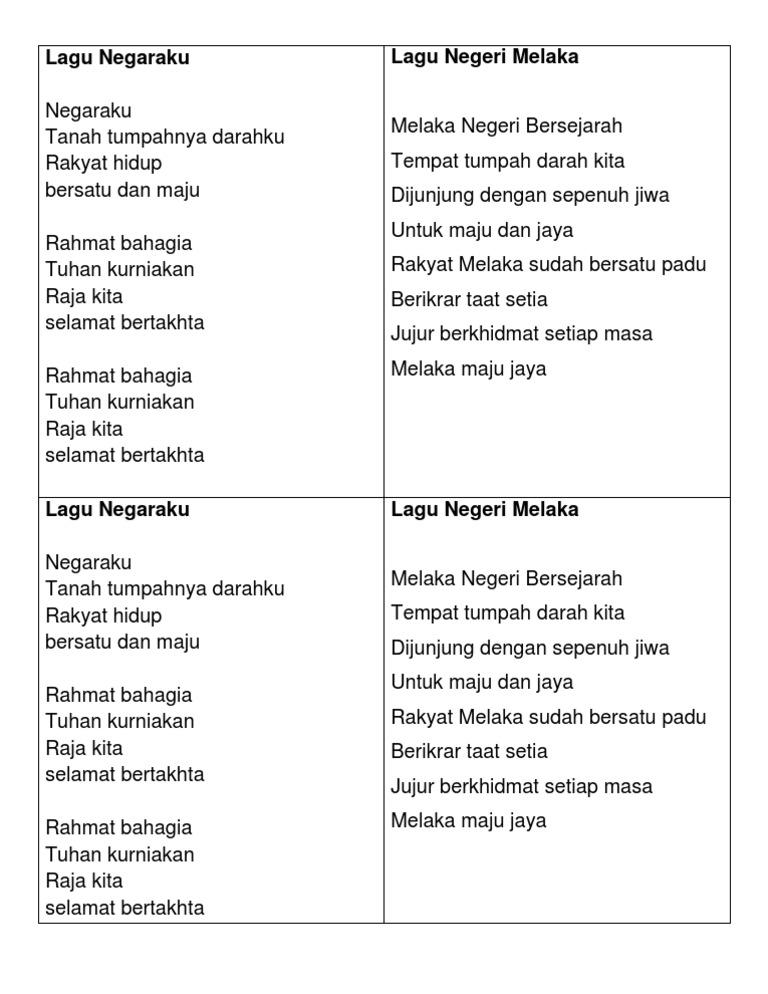 Lirik Lagu Negaraku Dan Melaka