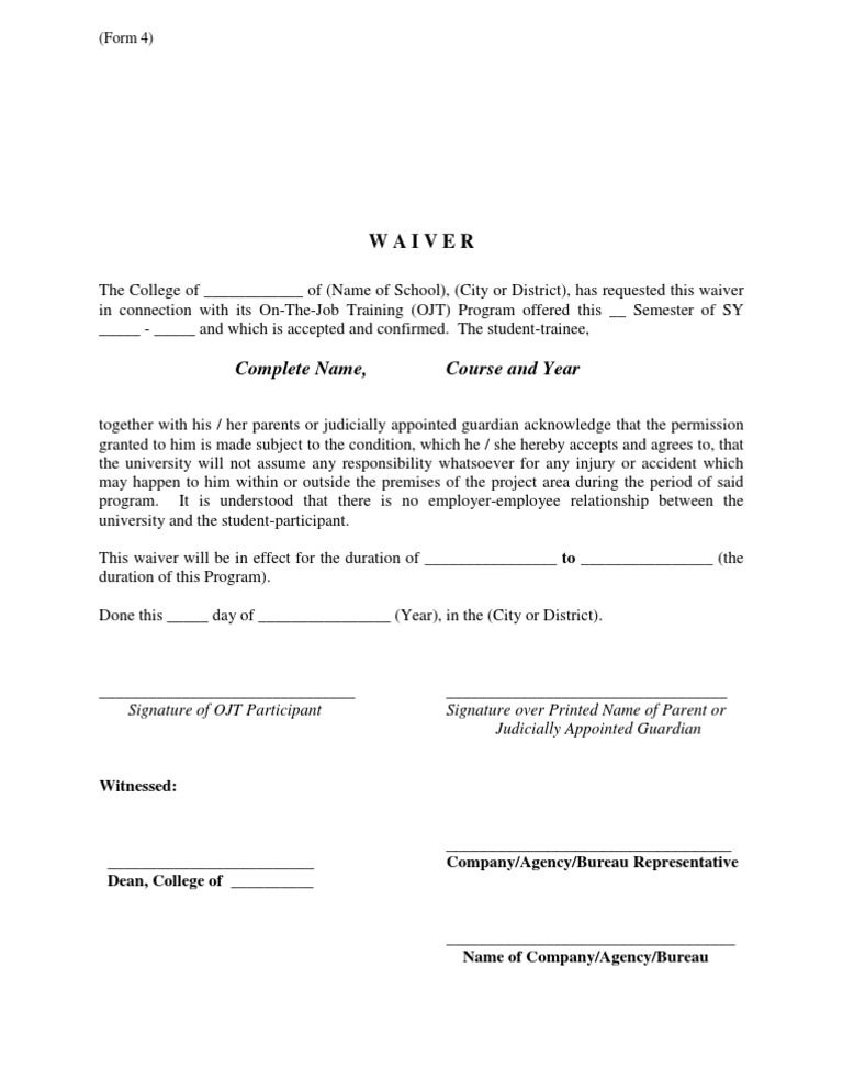Ojt waiver guide form thecheapjerseys Images
