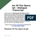 Phantom of the Opera Script
