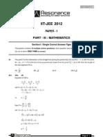 IITJEE 2012 Solutions Paper-1 MAths English