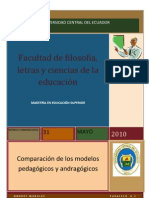 COMPARACIÓN DE LOS MODELOS PEDAGÓGICOS Y ANDRAGÓGICOS
