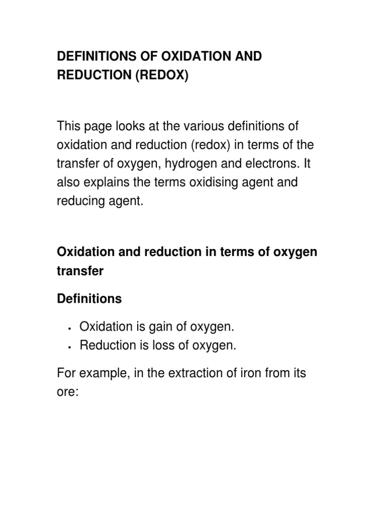 Definitions Of Oxidation And Reduction Redox Chemistry