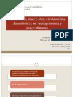 Tetraciclinas, macrólidos, clindamicina, cloranfenicol