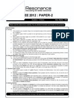 IITJEE Solutions Answer Key 2012 Solved Test Paper 2 English