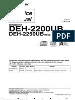 9816 Pioneer DEH-2200UB 2250UB Autoestereo Con CD Diagrama-Lista de Partes