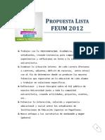 Propuesta Lista 2 FEUM 2012