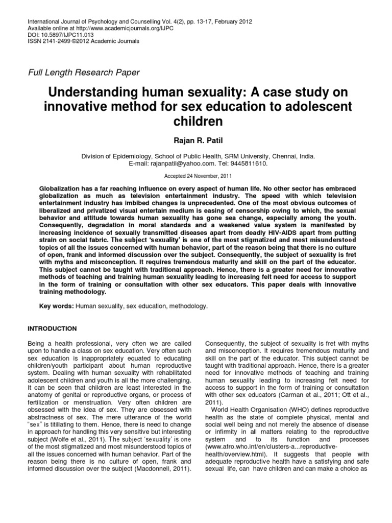 Full scholarly journals sex education