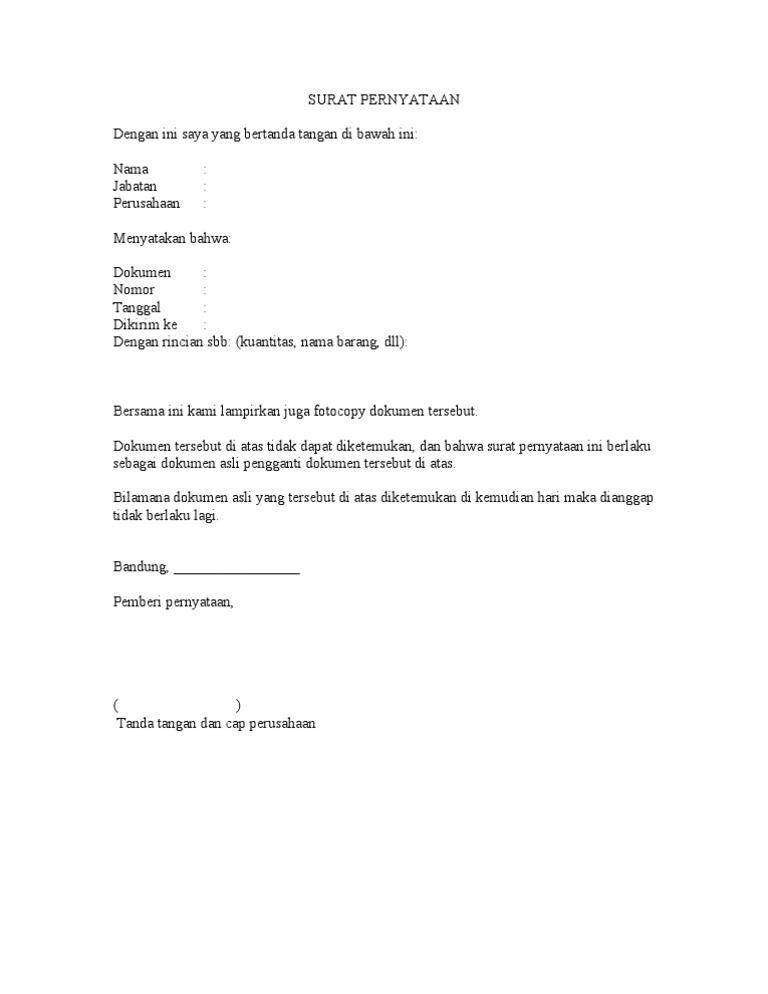 Contoh Surat Penting Surat Pernyataan Kehilangan Dokumen Asli