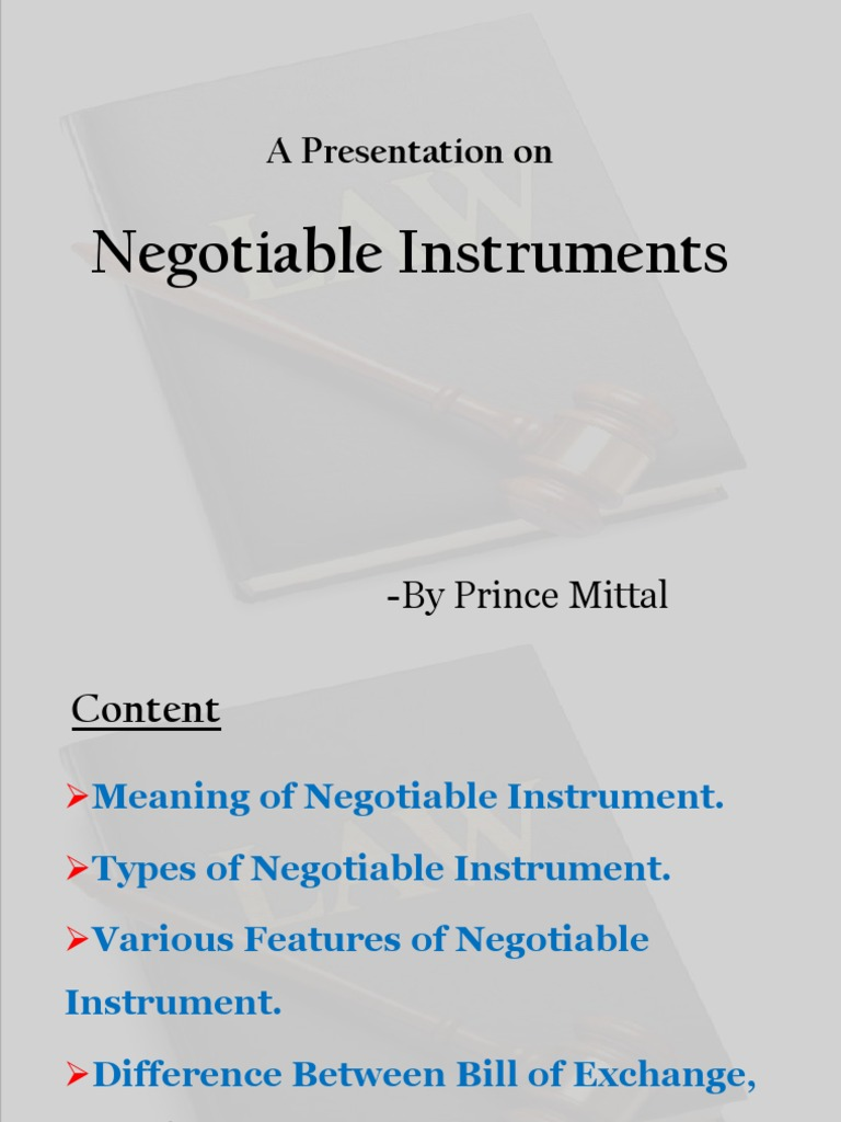 features of negotiable instruments