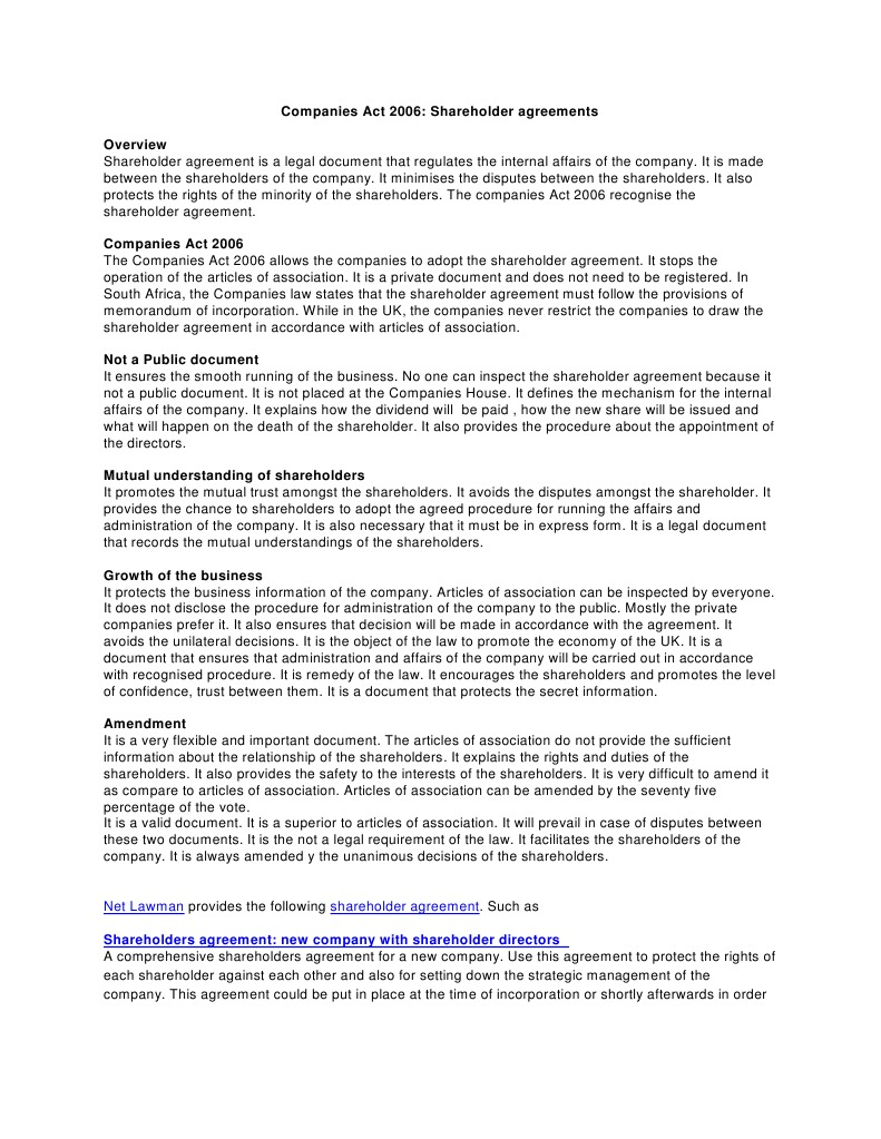 Shareholders Agreement Articles Of Association Corporate Law