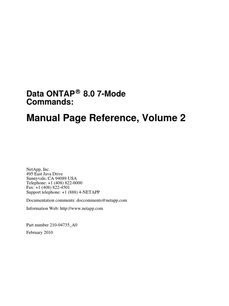 Data Ontap Commands