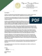 Mayor Unauthorized Camping Letter