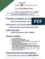 NOTE Aux Eleves Du CNC 2011 Pour l'Inscription