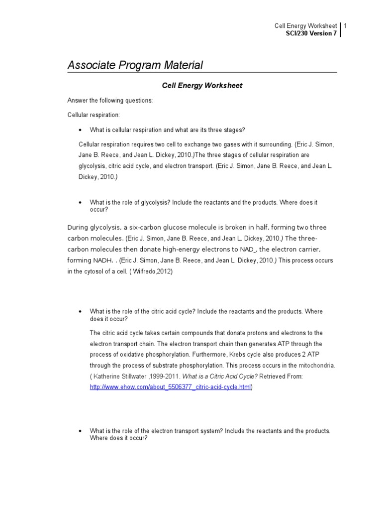 Cell Energy Worksheet Cellular Respiration Photosynthesis