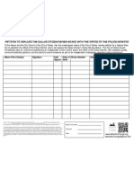 Office of the Police Monitor (Dallas) Petition Form