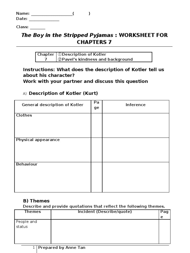 boy in striped pyjamas themes the boy in the striped pajamas  the boy in the striped pyjamas chap 7 worksheet nazi the boy in the striped pyjamas