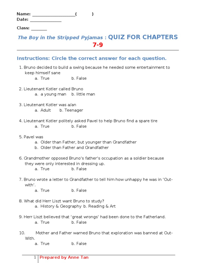The Boy in the Stripped Pyjamas QUIZ 79 – The Boy in the Striped Pajamas Worksheets