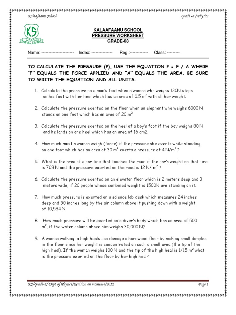 Air Pressure Worksheet Middle School Worksheets for all | Download ...