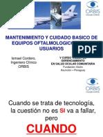 Mantenimiento y Cuidado Básico de Equipos Oftalmológicos para Usuarios