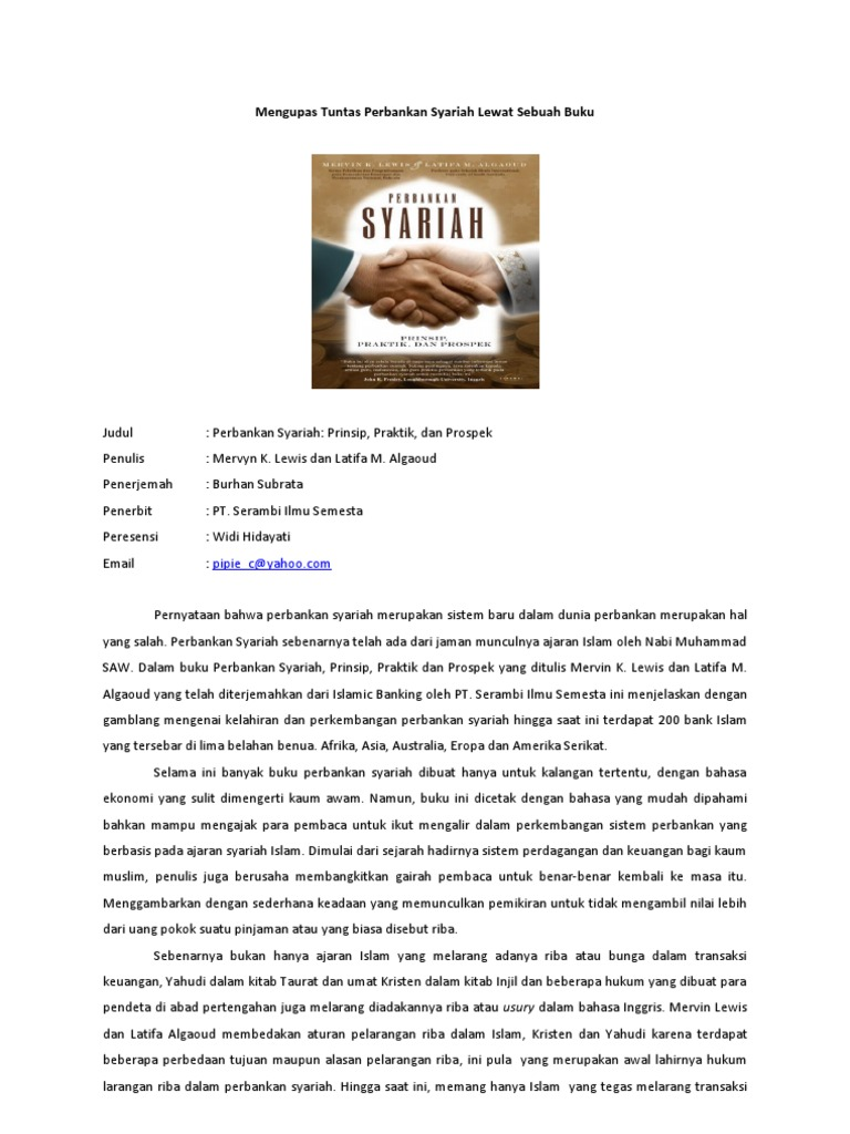Resensi Buku Perbankan Syariah Prinsip, Praktik, Dan Prospek