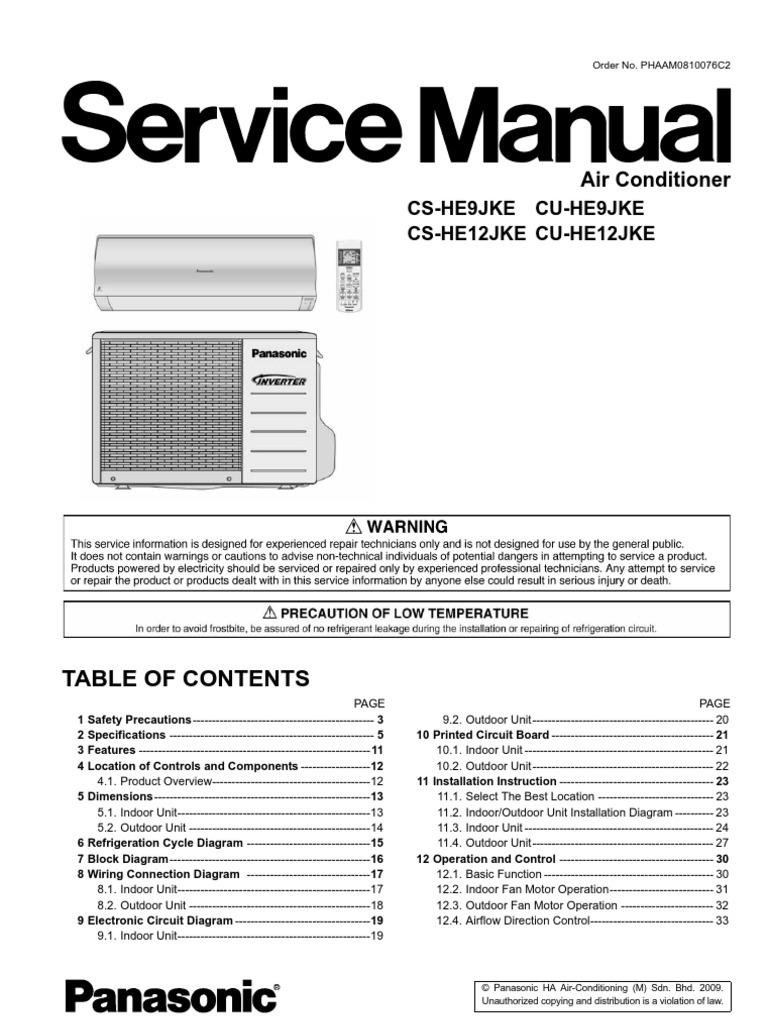 Panasonic CS HE9 12JKE Air Conditioning – Indoor Fan Motor Wiring Diagram