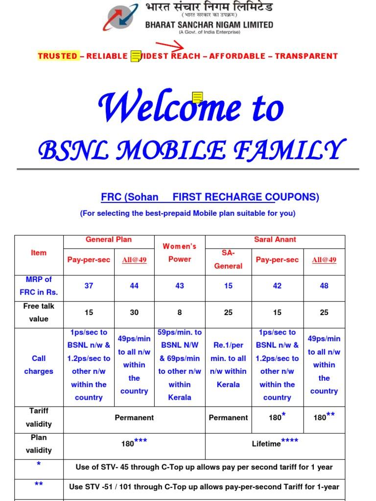 BSNL Prepaid Tariff | Short Message Service | Mobile Telecommunications