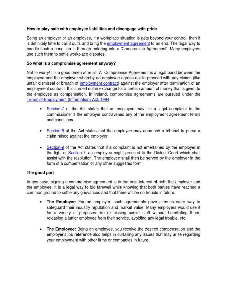 Compromise Employment Contract Employment Private Law