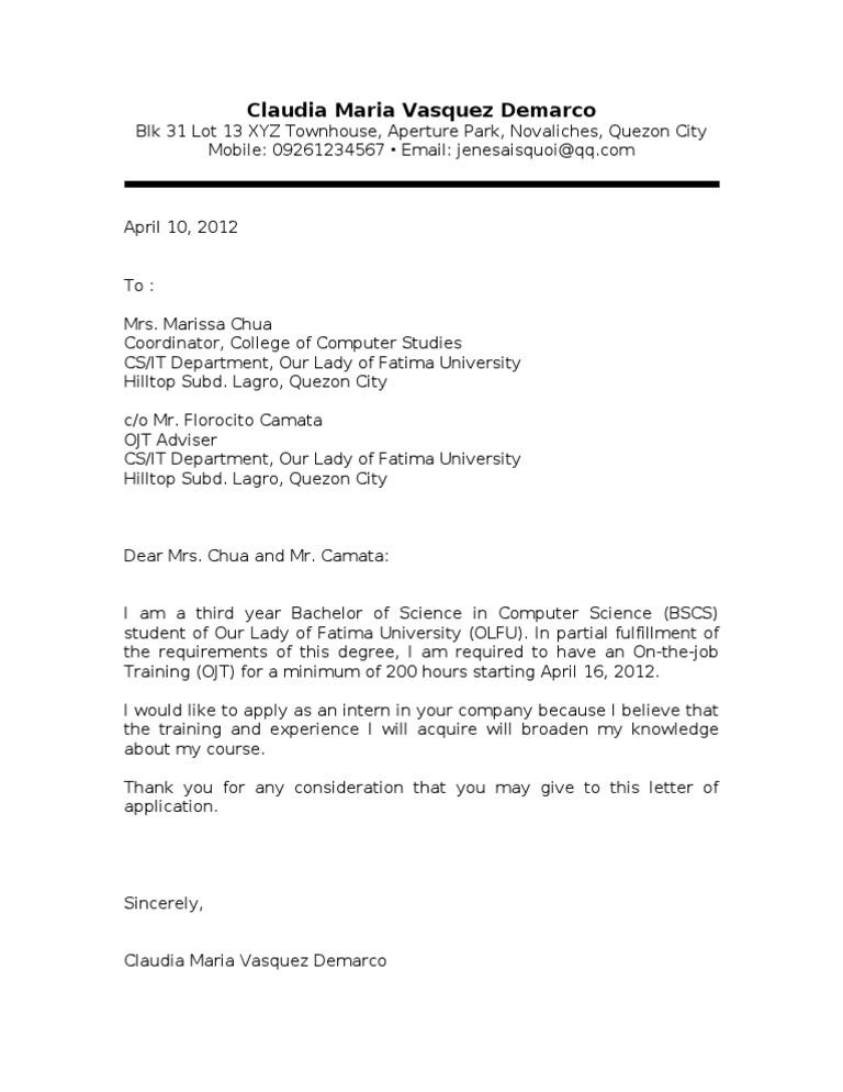 Ojt Application Letter Sampler