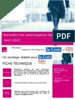 Baromètre des préoccupations des Français - avril 2012