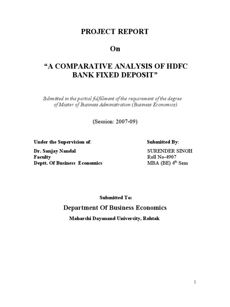 A Comparative Analysis Of Hdfc Bank Fixed Deposit Marketing