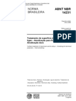 NBR 14231 - Tratamento de Superficie Do Aluminio e Suas Ligas - Anodizacao Do Aluminio e Suas Lig