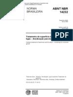 NBR 14232 - Tratamento de Superficie Do Aluminio e Suas Ligas - Anodizacao Do Aluminio e Suas Lig