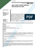 NBR 14382 - Papel Cartao e Pasta Celulosica - Determinacao de Cobre
