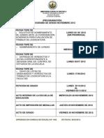 Cronograma de Grado Noviembre 2012