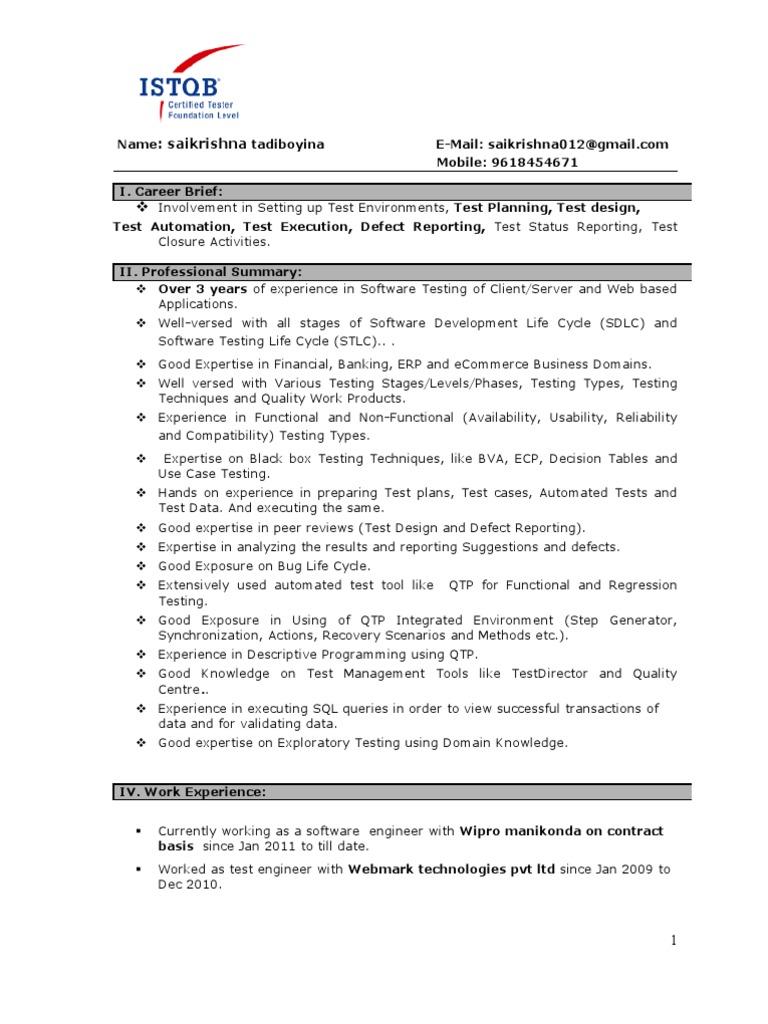 resume kruthik 1year experience in software testing software testing scripting language - Sample Resume Software Tester