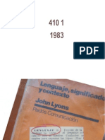 Lyons. Lenguaje, Significado y Contexto